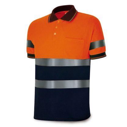 Polo alta visibilidad bicolor marino naranja